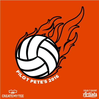 volleyball, flames, pilot pete's