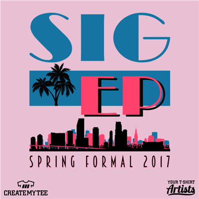 Sig Ep, Spring Formal, Miami Skyline, Palm Trees