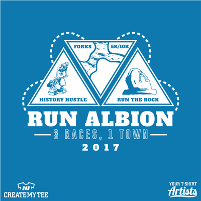 Run Albion, 3 races 1 town, History Hustle, Forks 5k/10k, Run the rock