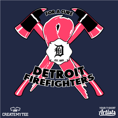 DFD, Fire Department, Detroit, Ribbon, For A Cure