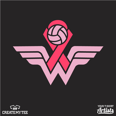 Cornwall Volleyball, Volleyball, Breast Cancer Ribbon, Wonder Woman