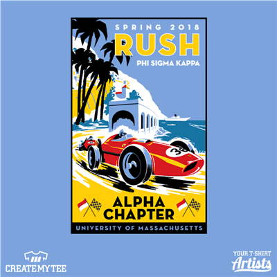 Spring Rush 2018 Phi Sigma Kappa Alpha Chapter, University of Massachusetts, Monaco race car illustration