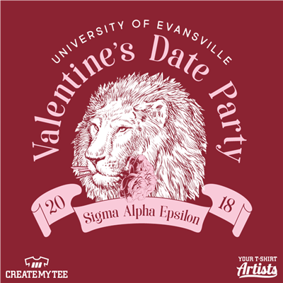 University of Evansville, Valentine's Date Party, Sigma Alpha Epsilon, Lion with flowers, Greek