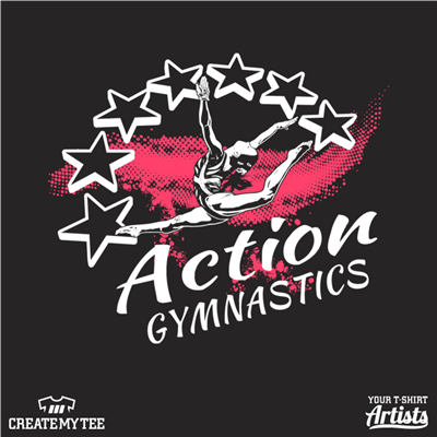 Action Gymnastics, Gymnast, Leaping, Stars