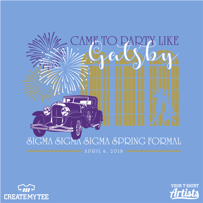 Came to party like Gatsby, Sigma Sigma Sigma Spring Formal, Greek, Fireworks, Vintage Car
