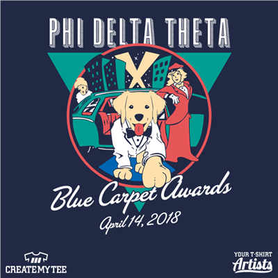 Phi Delta Theta, Blue Carpet Awards, Dog in suit stepping out of car