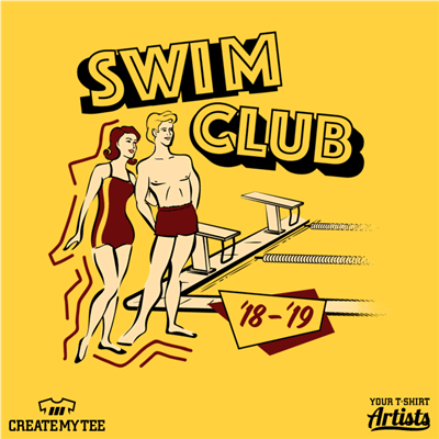 Swim Club, Retro, Vintage, Pool, Swimmers, Man, Woman, Lane Lines, Starting blocks