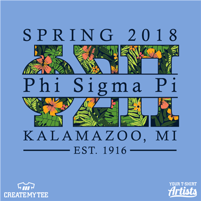 Phi Sigma Pi, Kalamazoo, Floral, Flowers, Tropical, Ferns, Flower