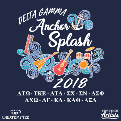 Anchor, Splash, Greek, Music, Band, Water, Swirls, Delta Gamma, 5