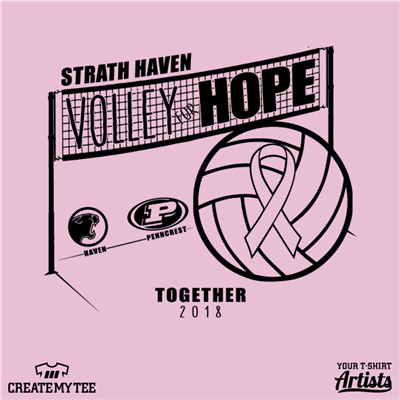 Volley for Hope, Together, Volleyball, Net, Ribbon