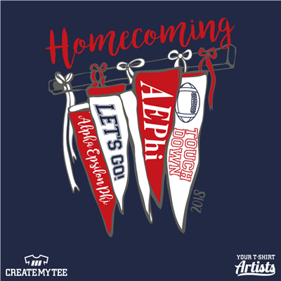 Homecoming, Flags, Greek, Banner, Alpha Epsilon Phi, Touchdown, Football