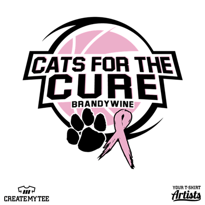 Cats for the Cure, Cats, Basketball, Paw, Breast Cancer, Ribbon