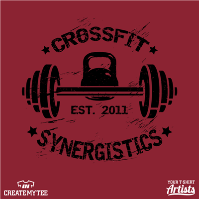 CrossFit Synergistics, Crossfit, Logo, Est 2011, Barbell, Kettlebell, Gym, Fitness, Distressed