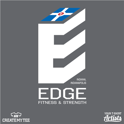 edge fitness, cube, front, fitness and strength, indiana, flag, back