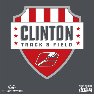 Clinton Track & Field Crest (9 inches), Shield, Badge