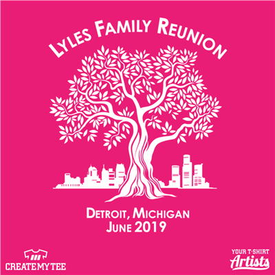 Family Reunion, Tree, Detroit skyline