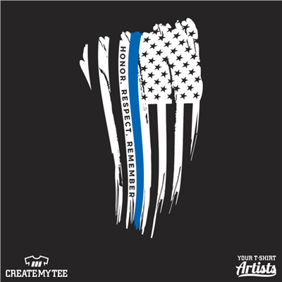 American Flag, Thin Blue Line, Blue Line Flag, Honor Respect Remember