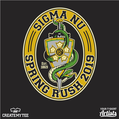 Sigma Nu, Spring Rush, Greek, Crest, Snake, 2019, Logo, Shield, Sword
