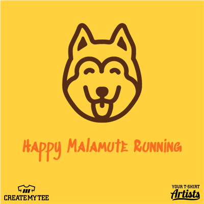 Happy Malamute Running, Dog, Logo