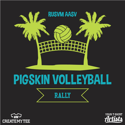 Pigskin, Volleyball, Rally, Beach, Palm Tree