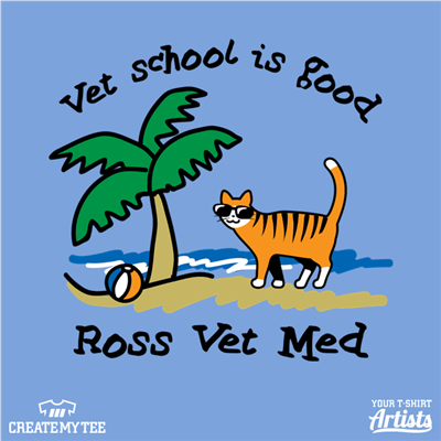 Vet School Is Good, Vet School, Cat, Beach