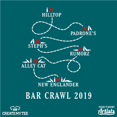 Bar Crawl, 2019, Map, Smaller Map, Beer