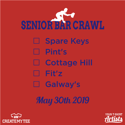 Senior, Bar Crawl, Elmhurst, 2019