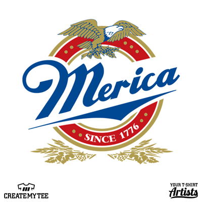 Merica, Beer, Miller, Logo, 4th Of July, Amazon