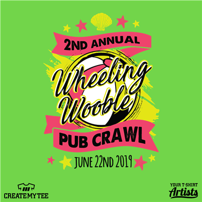 2nd Annual, Pub Crawl, Wheeling Wooble, Bar Crawl, Beach, Beach Ball, Summer
