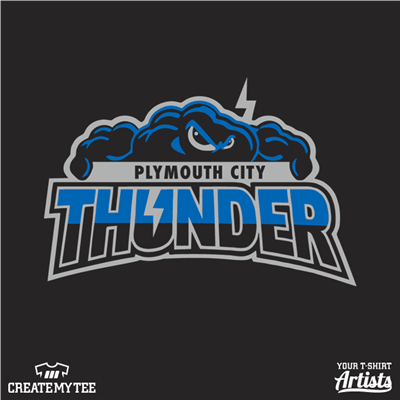 Plymouth City, Thunder, Cloud, Storm, Sport, Mascot, School