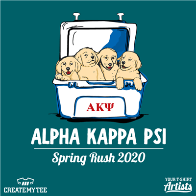 Alpha Kappa Psi, Spring Rush, Puppies in Cooler, Puppies, Cooler, Greek