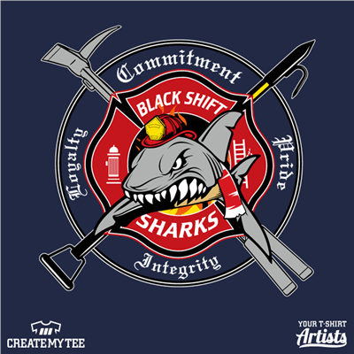 Black Shift Sharks, Firemen, Firefighters, Shark, Tools, Crest, Patch