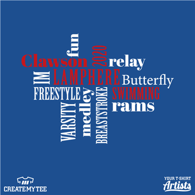 Swim League, Clawson, Lamphere, Swimming, Rams, Wordcloud, 10