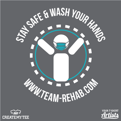 Team Rehab, In This Together, Logo, Wash Your Hands, Mask
