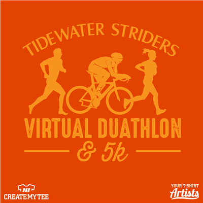 Tidewater striders, Dualthon, Virtual, 5k, 10, Runner, Cyclist, Biker