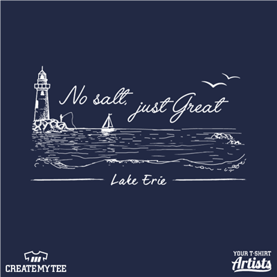 Lake Erie, No Salt, Just Great, Drawing, Lake, Boat, Lighthouse