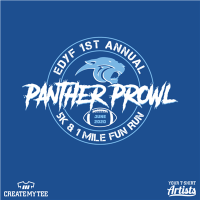 Panther Prowl, 5K, 1 Mile, Fun, Run, EDYF, Circle, Football, School