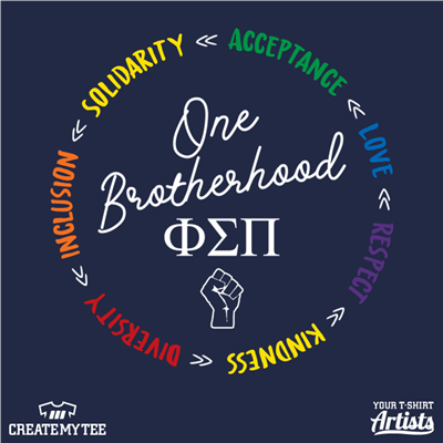 Phi Sigma Pi, One Brotherhood, Black Lives Matter, Rainbow, Gay Pride, Circle